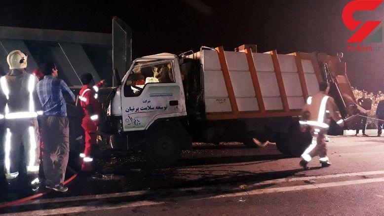 تصادف مرگبار کامیونت هیوندا با بنز در اتوبان همت +عکس