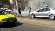 آتش افروزی موتورسوار بعد از درگیری با پلیس / در قزوین رخ داد+ عکس