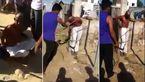 به چوب بستن جوانی توسط مردم که دختر 10 ساله را آزار داده بود + فیلم و عکس