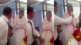 فیلم لحظه عمل زشت داماد هنگام کیک خوردن عروس در برابر میهمانان+ تصاویر