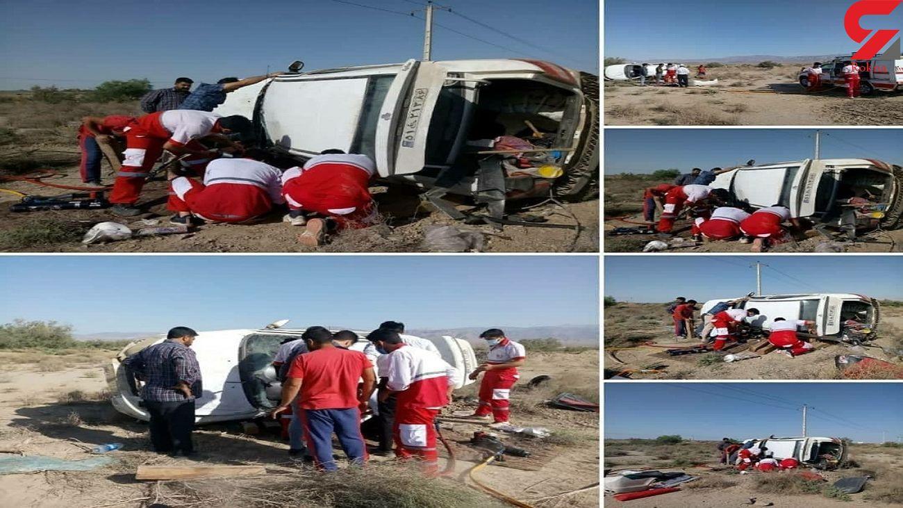 3 مصدوم با واژگونی خودروی سواری در شاهرود + عکس