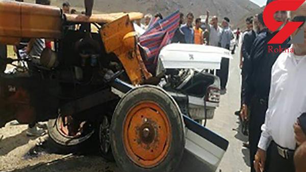 تصادف مرگبار تراکتور با 3 خودرو در زنجان + عکس