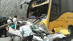 برخورد اتوبوس با خودرو سواری پراید/ 8 تن مجروح شدند