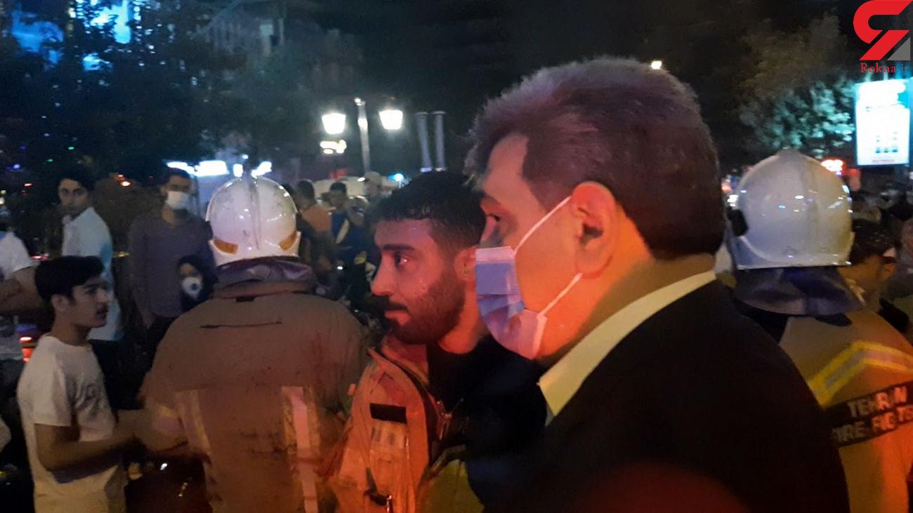 شهردار تهران در صحنه انفجار تجریش + فیلم
