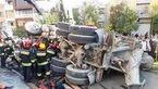 له شدن پژو به خاطر سقوط کامیون بر روی آن+ عکس