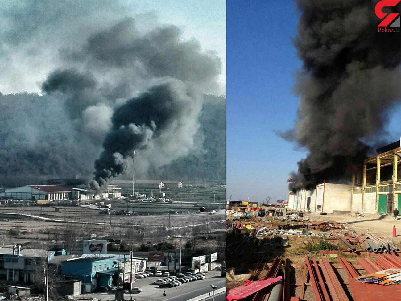 دیگ شرکت گوشتی کاله منفجر شد / آتش سوزی همچنان ادامه دارد + عکس
