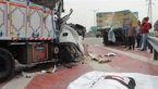 برخورد مرگبار 2 کامیون سنگین در جاده قدیم قم + عکس