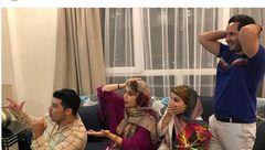 هیجان «شبنم قلی خانی» و خانواده اش در حین بازی ایران و اسپانیا +عکس