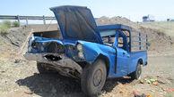 پرت شدن 2 سرنشین وانت به بیرون در اثر واژگونی خودرو / در سیستان و بلوچستان رخ داد