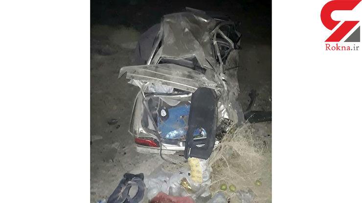 عکس / واژگونی خودروی سواری در محور زاهدان-زابل