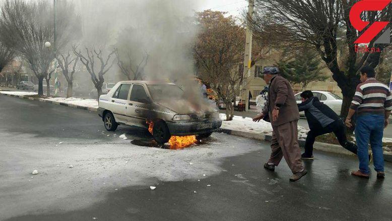 فیلمی از لحظه آتش گرفتن یک پراید در مهاباد + عکس