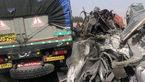2 کشته در تصادف تریلی ها در جاده کرمان-باغین + عکس