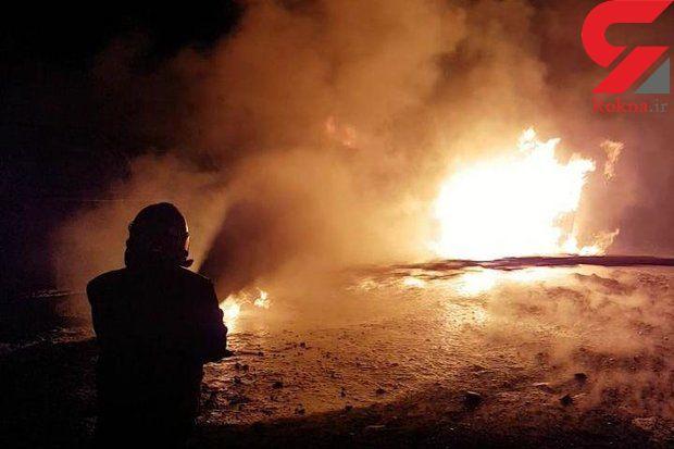 آتش سوزی گسترده 9 خودروی سنگین در اهوار / علت حریق نامعلوم!
