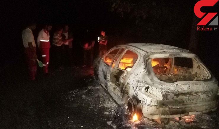 2سرنشین 206 در شعله های آتش زنده زنده سوختند