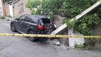 عکس های برخورد شاسی بلند لوکس با تیر برق / در سوهانک رخ داد