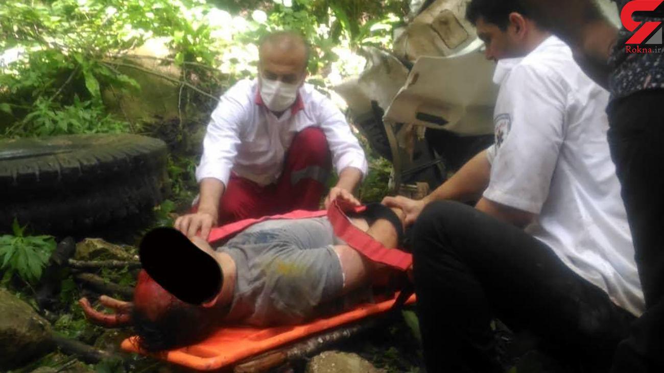 سقوط مرگبار خودرو به دره در کیاسر + فیلم و عکس جنازه
