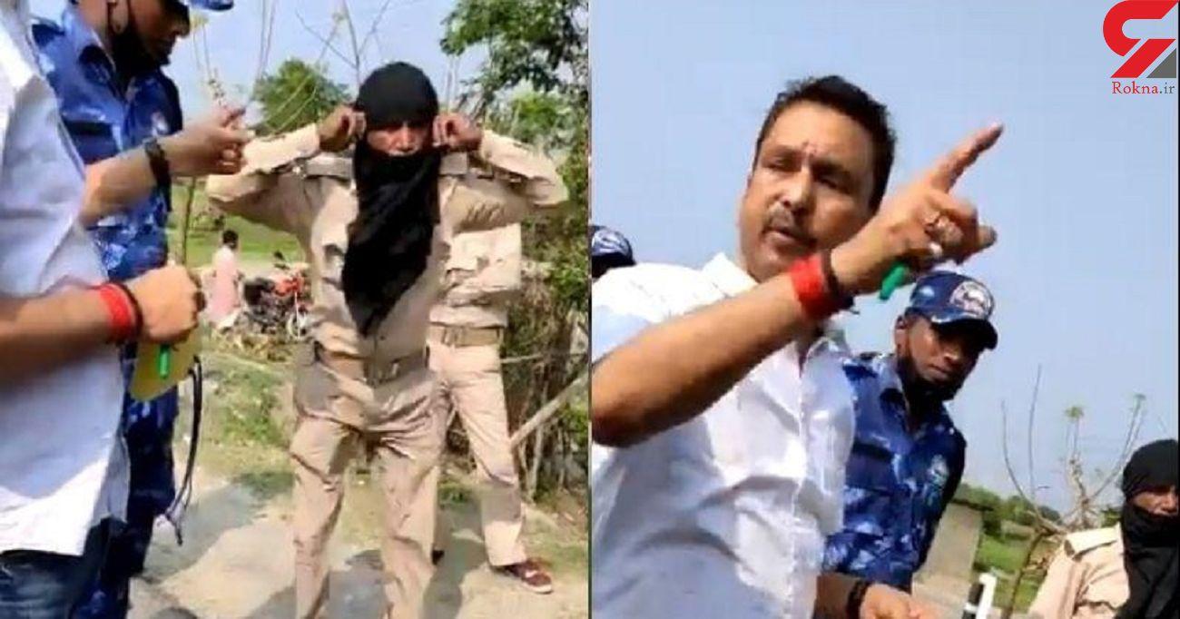 فیلم لحظه تنبیه ظالمانه مامور پلیس به جرم انجام وظیفه! / هند