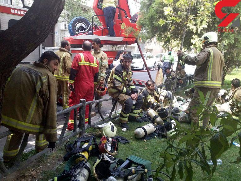حادثه برای 2 آتش نشان در جریان اطفاء آتش در برج اداری جردن + فیلم و عکس