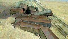 بررسی جزئیات واژگونى قطار باری حامل سنگ آهن در کاشمر