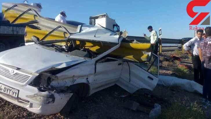 پراید و گاردریل با هم مچاله شدند ! / مرگ تلخ راننده در جاده سمنان + تصاویر تلخ