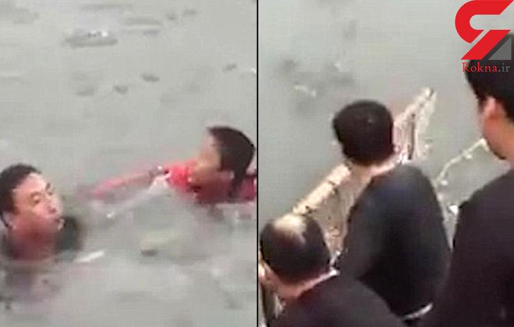 نجات پسربچه از دریاچه یخزده + فیلم