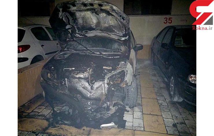 آتش سوزی در پارکینگ برج مسکونی