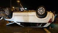 پشتک زدن خودرو سوزوکی در اتوبان تهران قم