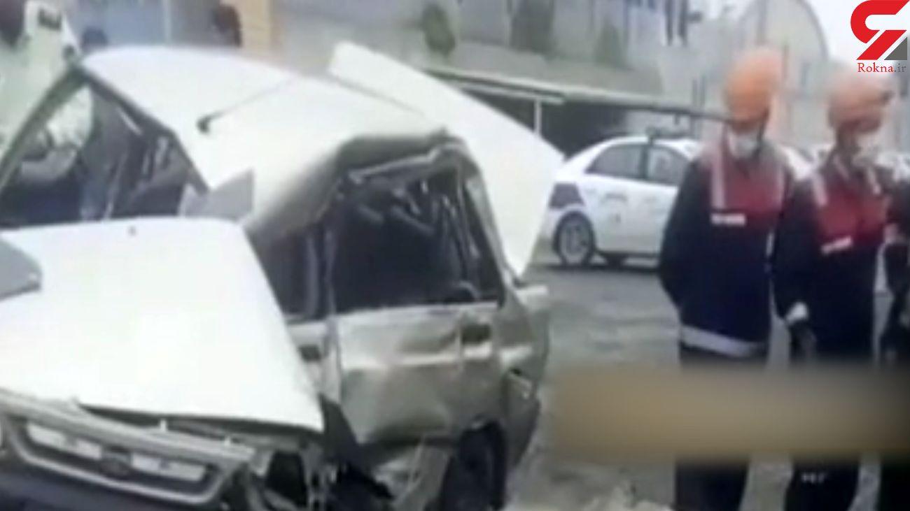 انحراف پراید به دلیل لغزندگی جاده در مشهد / یک نفر کشته شد+ فیلم