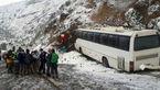 اتوبوس در گردنه حیران صبح امروز لیز خورد و به کوه زد + عکس