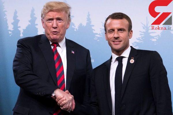 جای انگشت رئیس جمهور فرانسه روی دست ترامپ سوژه شد + تصاویر