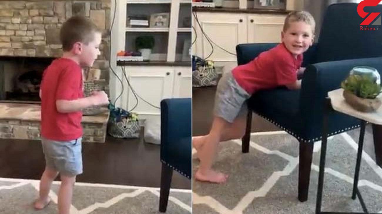 واکنش دیدنی یک مادر پس از مشاهده راه رفتن پسر بیمارش + فیلم