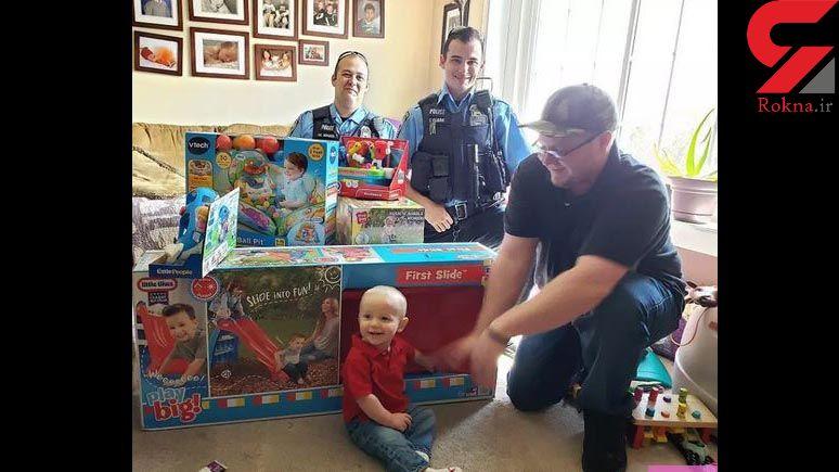 دزدان به هدایای تولد کودک رحم نکردند! / پلیس های مهربان جشن گرفتند!+عکس