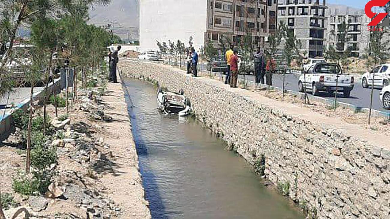 سقوط خودرو به رودخانه شهرک فرهنگیان همدان + عکس
