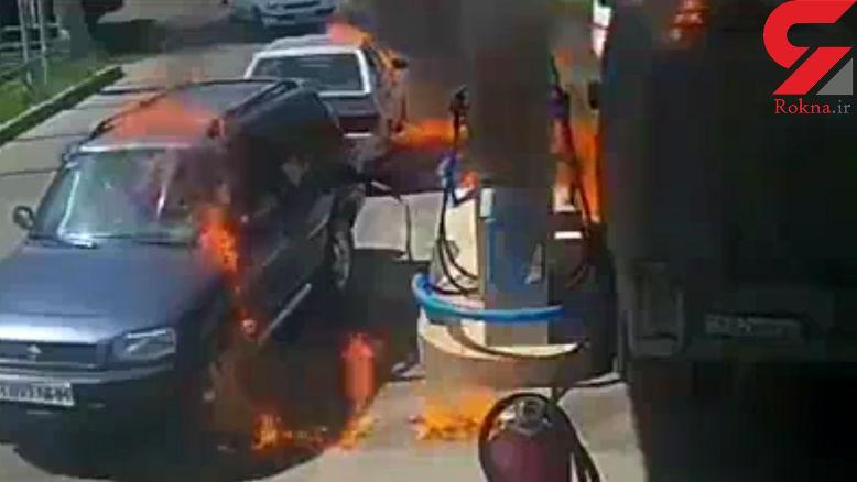 فیلم آتش سوزی خطرناک  در پمپ بنزین + فیلم