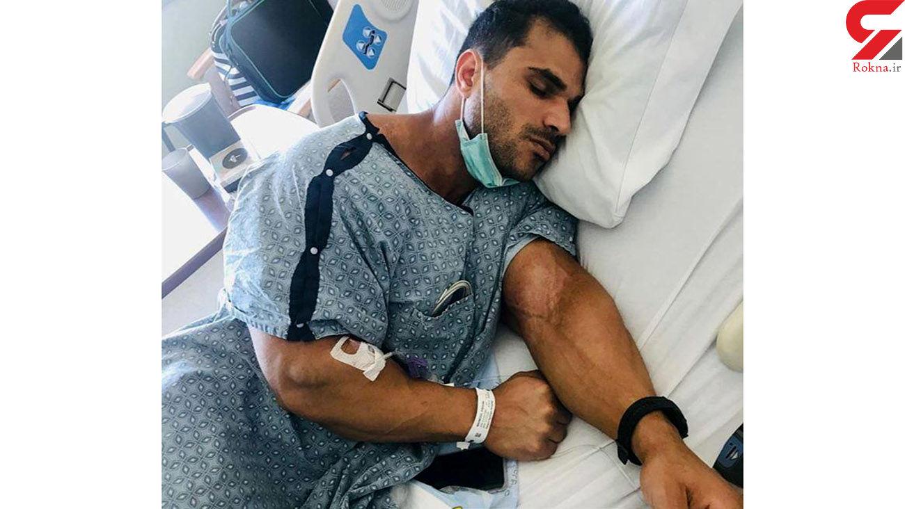 حسن مصطفی از هواپیما به بیمارستان منتقل شد + عکس
