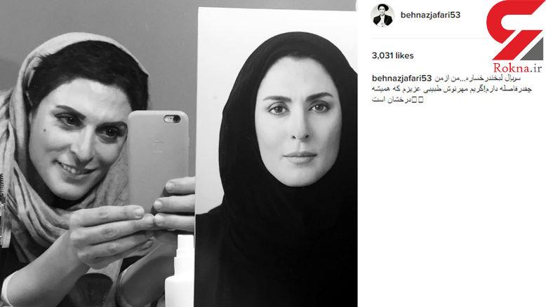 سلفی آیینه ای جالب خانم بازیگر پس از گریم در کنار تصویر چهره اصلی اش +عکس