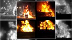 اتوبوس تیم فوتبال در آتش سوخت / هواداران آتش بازی خطرناکی کردند + عکس