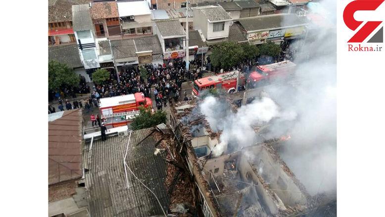 مصدومیت 4 آتش نشان در میان شعلههای آتش