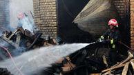 کارگاه تولید چوب در قزوین در آتش سوخت + عکس