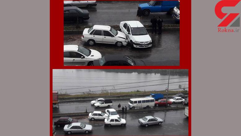برخورد 3 خودرو در رشت / تاخیر پلیس برای حضور در محل