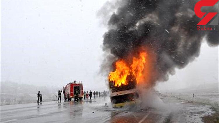 آتشسوزی اتوبوس در جاده سنندج