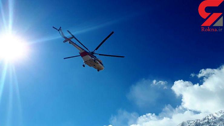 ۲ هلیکوپتر هلال احمر در جستجوی لاشه هواپیما بر فراز دنا