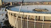 فیلم لحظه ریزش سقف استادیوم / 40 مرد زنده به گور شدند / روسیه