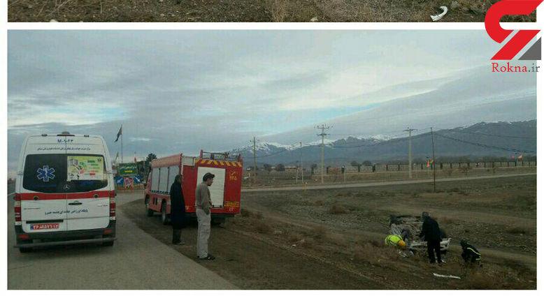 عکس دلخراش از واژگون شدن 206  در جاده نیشابور