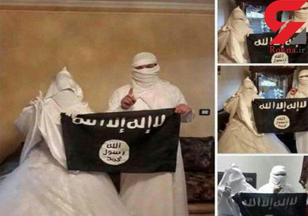 عکس عجیب ترین عروس و داماد داعشی / کمربند انتحاری، مهریه این عروس است