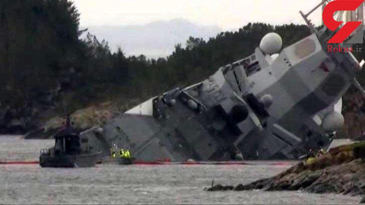ناو ارتش در حال غرق شدن / در نروژ رخ داد + عکس