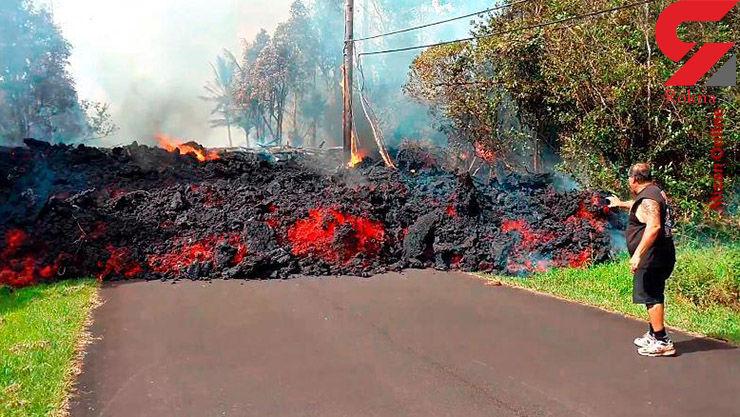 گدازههای آتشفشان  هاوایی را بلعیده است + عکس عجیب