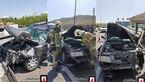 برخورد حادثه ساز پژو با یدک کش در بزرگراه بابایی + عکس