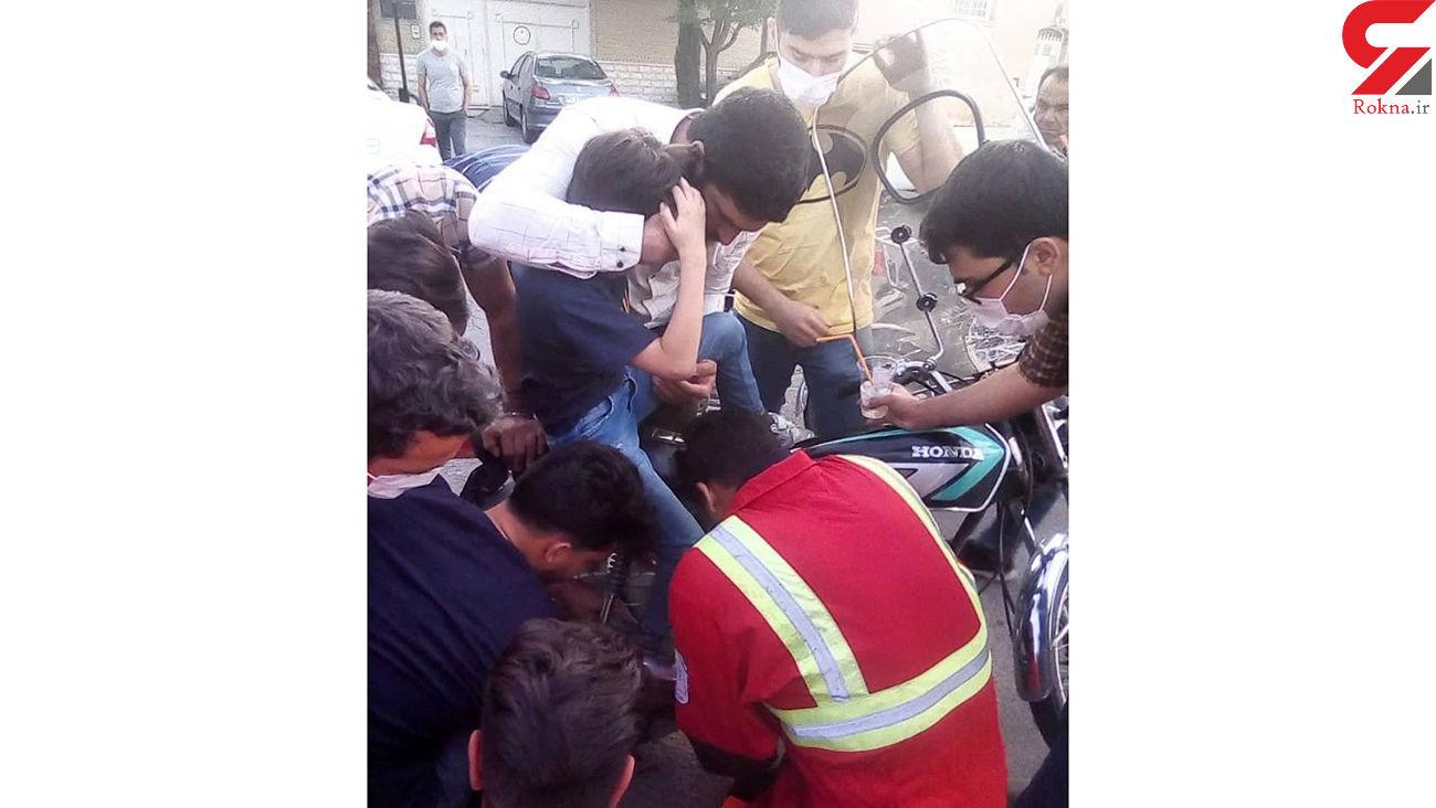 پای کودک 8 ساله کاشانی در پره های چرخ موتور گیر کرد + عکس