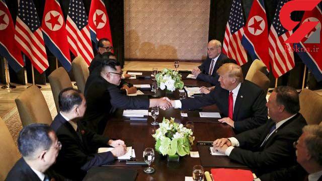 شوخی خنده دار و عجیب ترامپ با رهبر کره شمالی سر میز غذاخوری +فیلم
